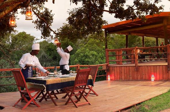 Dinner on the deck at Addo Elephant Safari Lodge.