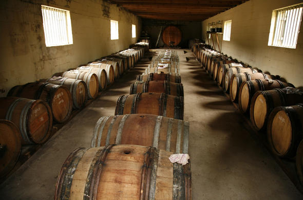 Auberge Rozendal barrels of vinegar.