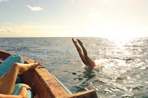 Dive in the ocean in Mozambique Azura Island.