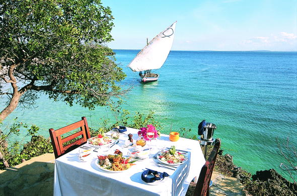 Lunch at Azura Private Island in Mozambique.