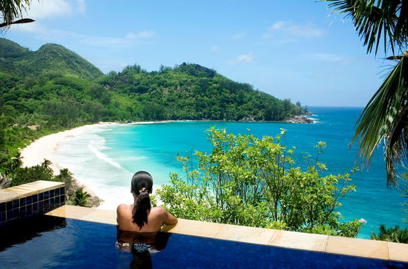 Banyan Tree Seychelles view from infinity pool.