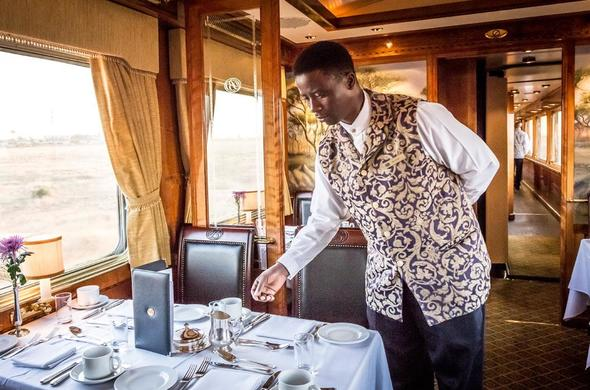 Dining on the Blue Train.