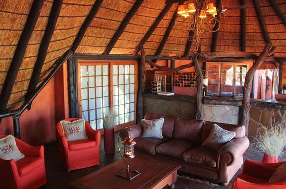 Interior and bar area at the camelthorn kalahari lodge