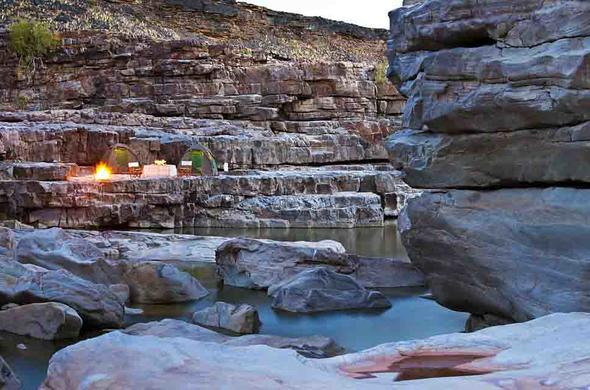 Camping at the bottom of Fish River Canyon