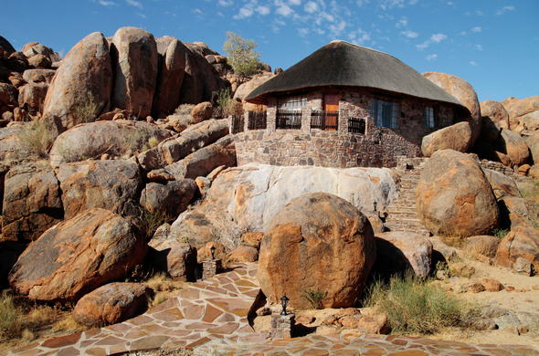 Canyon Lodge blends in with the rocky hills.