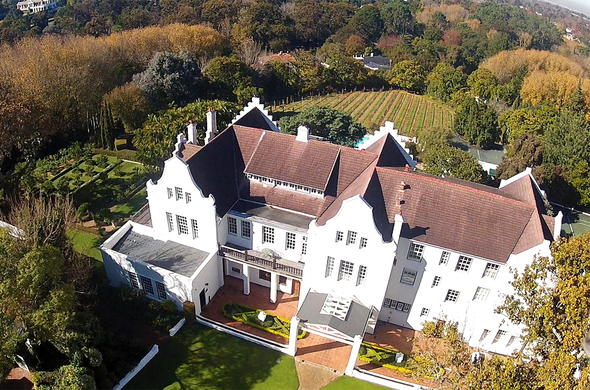 Aerial view of Cellars Hohenort Hotel in Constantia.