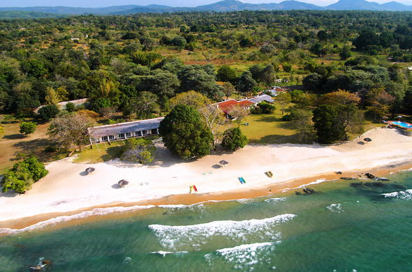 Aerial view of Chintheche Inn on Lake Malawi.