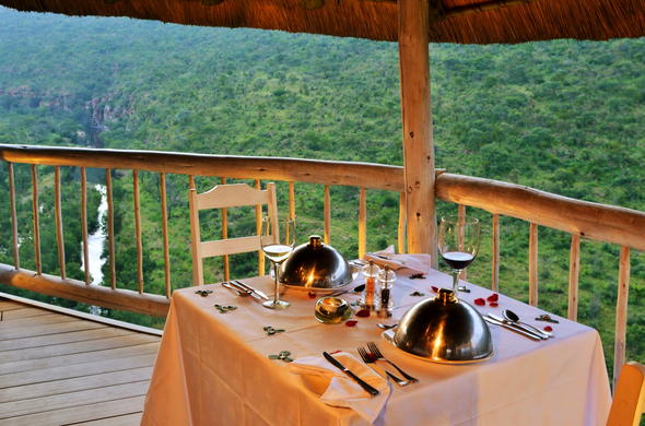 Sit down for a meal and exquisite views of Welgevonden Private Game Reserve.