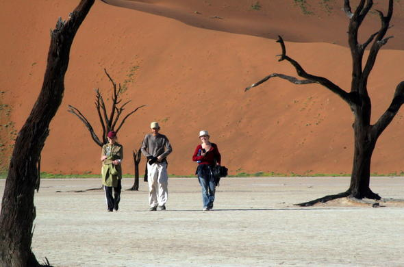 Walking tour in the dead vlei in Namibia.