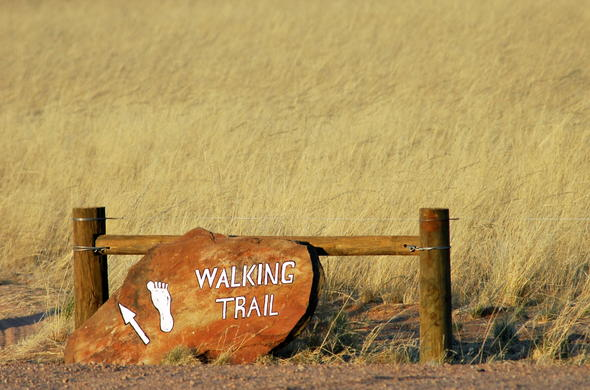 Walking trail in Namibia.