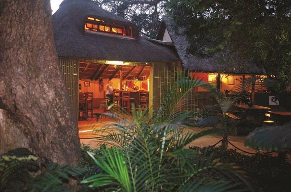 Exterior of the bar at DumaZulu Lodge..