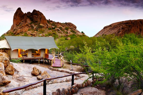 The exterior of the tented accommodation offered at Erongo Wilderness Lodge.