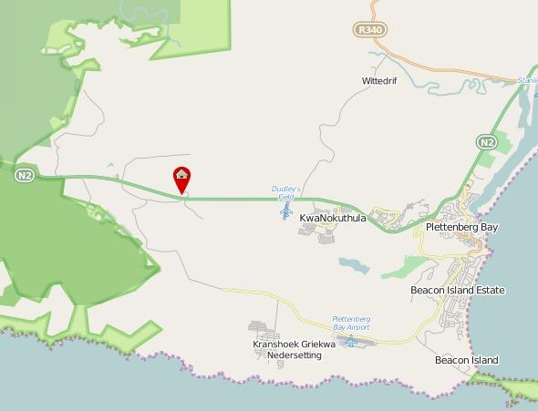 Location of Lairds Lodge Country Estate, Plettenberg Bay, Western Cape.