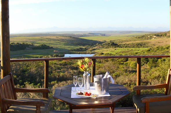 Enjoy drinks and canapes on the deck of Garden Route Game Lodge.