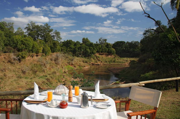 Breakfast is served on the banks of the Mara River.