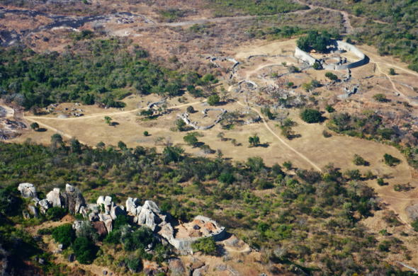 Aerial view of Great Zimbabwe.
