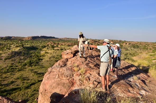 Guests on a guided walk in the Mapungubwe National Park.