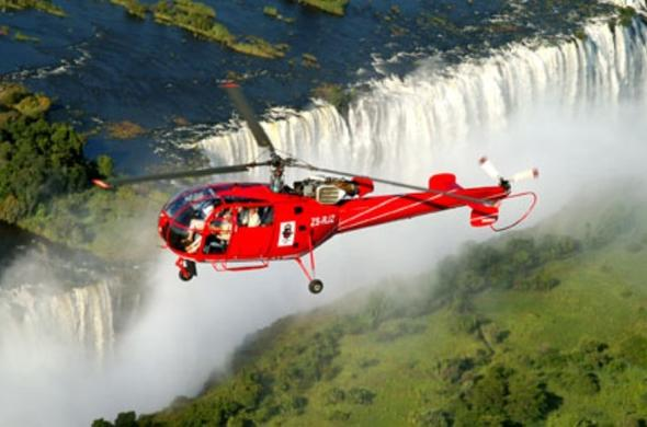 Helicopter flight over Vic Falls.