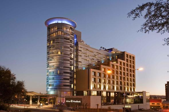 Hilton Windhoek Hotel in Namibia at night.