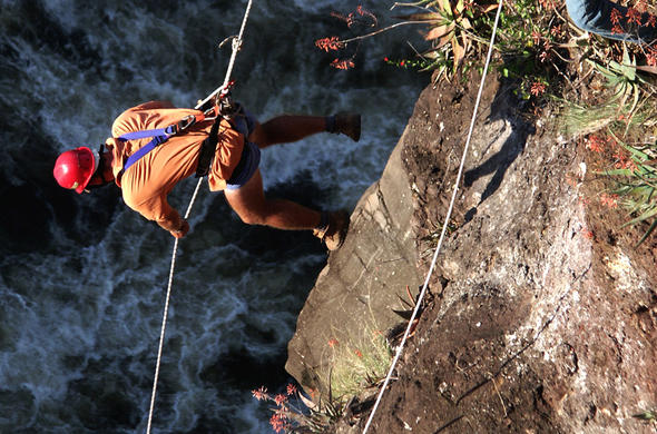 Abseiling Victoria Falls.