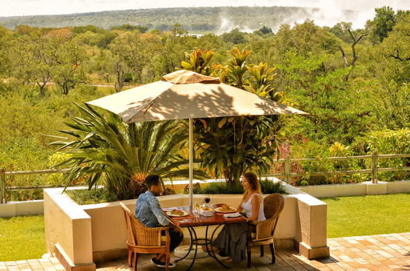 Ilala Lodge boasts views of Victoria Falls.