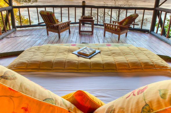 Deck overlooking the river in Zambia.