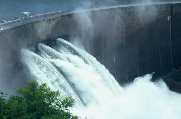 The hydroelectric dam in the Kariba Gorge.