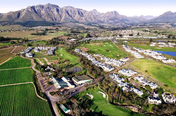 Aerial view of De Zalze Estate in Stellenbosch.