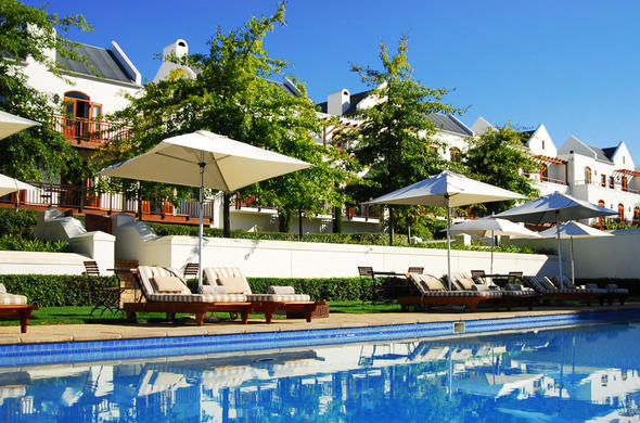 Pool and relaxation area at De Zalze Lodge.