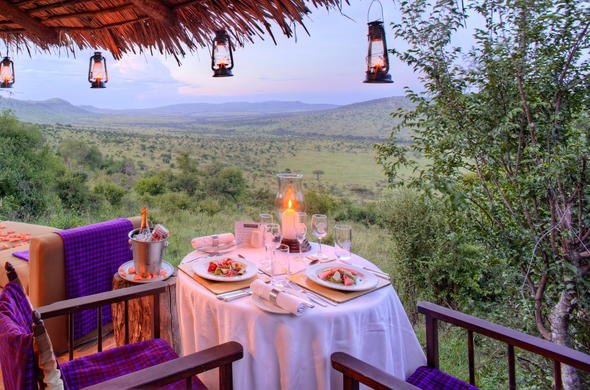 A romantic dining experience at Kleins Camp in Serengeti National Park.