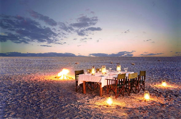 Private dinner on Kubu Island in the Makgadikgadi Salt Pan, Botswana.