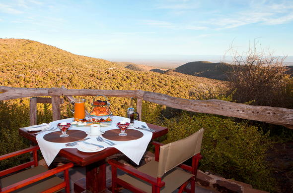 Enjoy breakfast with a view on the deck.