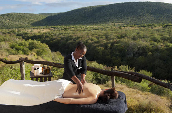 Soothing spa treatments are offered at Kwandwe Private Game Reserve.