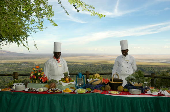 Buffet of treats at Lake Manyara Serena Safari Lodge.