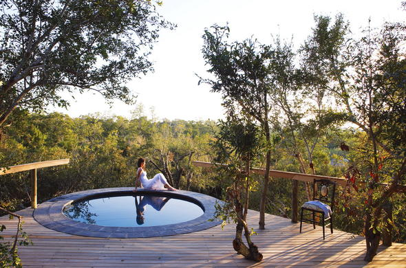Lounge around the private pool at Londolozi Pioneer Camp.