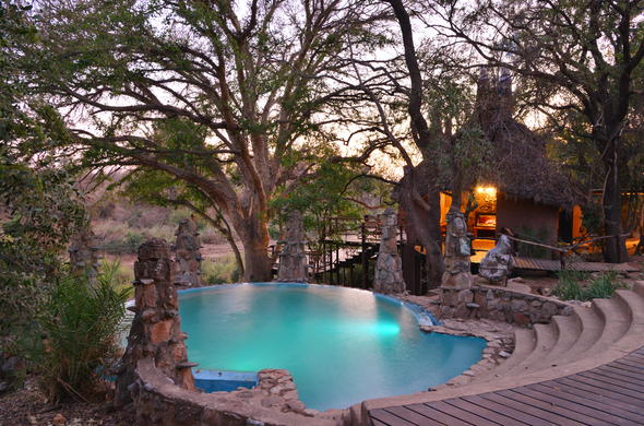 Go for a swim in the swimming pool of Makalali Game Lodge.