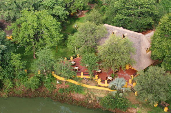 An aerial view of Maramba River Lodge.