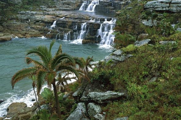 A scenic view of Horseshoe Falls in the Mkhambathi Nature Reserve area.