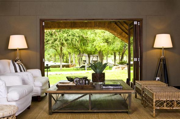 The Mushara Lodge lounge overlooks the stunning gardens.