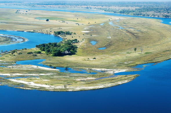 Channel of the Chobe River between Namibia and Botswana.