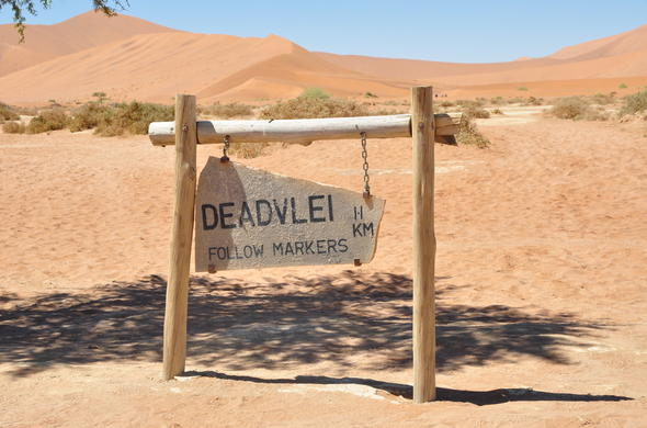 Namibia Deadvlei road sign.