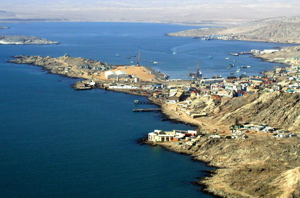 Ariel view of the coastal town of Luderitz in Namibia.