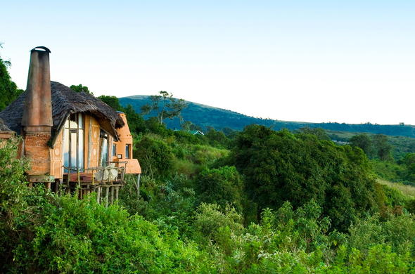 Ngorongoro Crater Lodge is scenically located at the top of a hill.