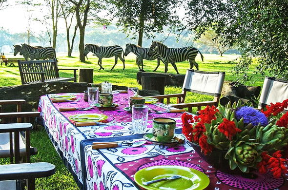 Enjoy an outdoor lunch with sightings of zebra at Olerai House.