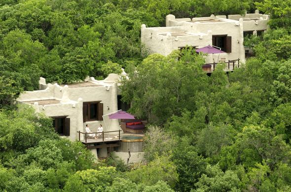 Exterior view of the lodges at Phinda Rock Lodge.