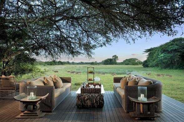 See wildlife from the deck of Phinda Vlei Lodge.