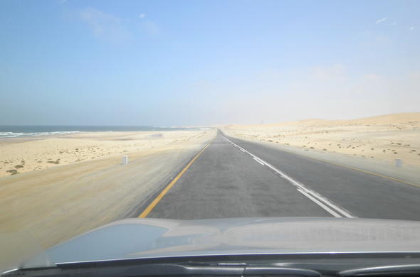 Road to coastal town of Walvis Bay.