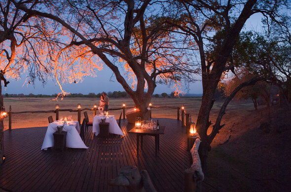 Open-air dining at Sanctuary Ouku Ridge Camp.