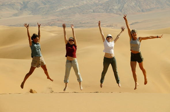 Guests enjoying a sand dune safari.