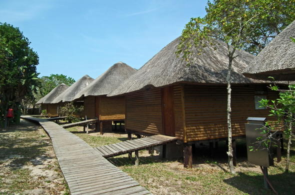 The chalets at Sodwana Bay Lodge.